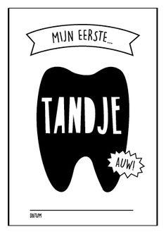 Mijn eerst tandje! Baby mijlpaalkaarten van studio zwartwit www.studiozwartwit.nl/shop