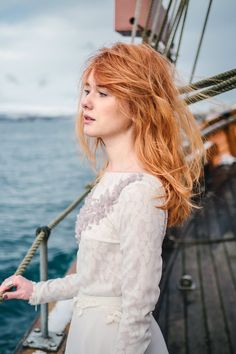 Our beautiful bride at the Faroe Islands. Silk chiffon wedding dress with lace lining by Cathy Telle.