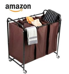 3-Bag Laundry Sorter MaidMAX Heavy Duty Rolling Laundry Sorter Cart with 4 Wheels: Home & Kitchen