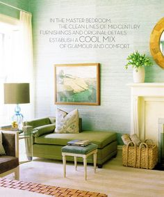 The green grasscloth with olive accents