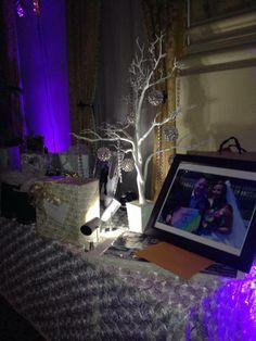Manzanita tree with crystal ornaments and white rosette linen! www.milwaukeeweddingcenter.com www.facebook.com/milwaukeeweddingcenter