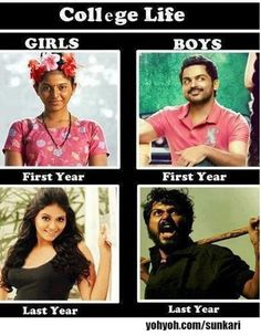 funny and humour difference between girls and boys in college life Tamil Funny Memes, Funny Qoutes, Funny Quotes For Teens, Funny School Jokes, Stupid Funny Memes, Funny Facts, Funny Stuff, Random Stuff, College Humor