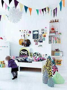white retro modern toddler room