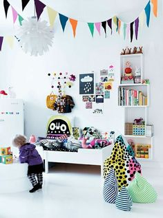 white retro modern toddler room