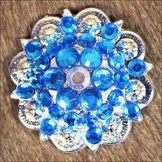 CAPRI BLUE AB CRYSTALS BERRY CONCHO RHINESTONE HEADSTALL SADDLE TACK BLING