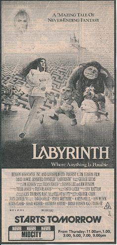 Labyrinth (Cut out from a newspaper Dec 3 A'Mazing Tale! Labyrinth 1986, Labyrinth Movie, Labrynth, Goblin King, Cult, Great Movies, Amazing Movies, Movies Worth Watching, Fantasy Films