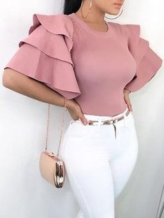 Shop Roundneck Ruffle Sleeve Blouses Casual Tops – Discover sexy women fashion at IVRose Mode Outfits, Chic Outfits, Trendy Outfits, Fashion Outfits, Fashion Tips, Sexy Outfits, Summer Outfits, Fashion Hacks, Fashion Clothes