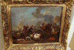 Fp Van Hurt, Scene De Bataille, Cavalerie, Huile/toile 17ème, Ecole Flamande