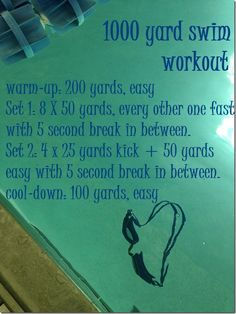 1000 Yard Swim Workout by @Caitlin Burton Boyle