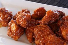 Boneless Chicken Wings with 5 sauce recipes~ Buffalo, Honey BBQ, Parmesan garlic, Asian, and Caribbean jerk.
