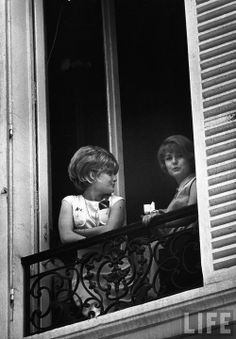 Two young Parisian women on a balcony  Paris 1963  Alfred Eisenstaedt