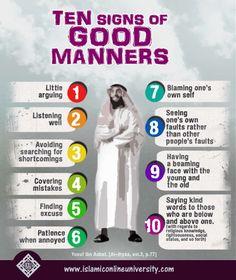 Ten good manners in Islam. Islamic Quotes, Islamic Teachings, Islamic Messages, Islamic Inspirational Quotes, Muslim Quotes, Religious Quotes, Islamic Dua, Islam Hadith, Allah Islam