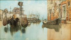 """Venetian Morning,"" Francis Hopkinson Smith, watercolor on paper, 13 x 23"", MME Fine Art."