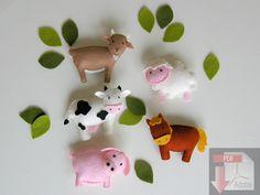pattern felt ornaments, farm animal mobile, country crib mobile DIY, wool felt pattern, cow, goat, sheep, horse, pig, hog, baby mobile by DIYwithwoolfelt on Etsy