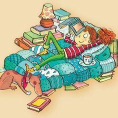 Sal con una chica que lee. Por Rosemary Urquico