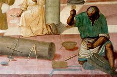 Fresque du monastère de Monte Oliveto Maggiore (Italie) Détail du tailleur de pierre