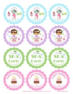 Spa Party Cupcake Toppers Free Printable - SPAradise Mobile Spa Inc. Spa Party Favors, Kids Spa Party, Spa Birthday Parties, Pamper Party, Spa Party Invitations, Spa Cupcakes, Spa Cake, Cupcake Party, Cupcake Toppers Free