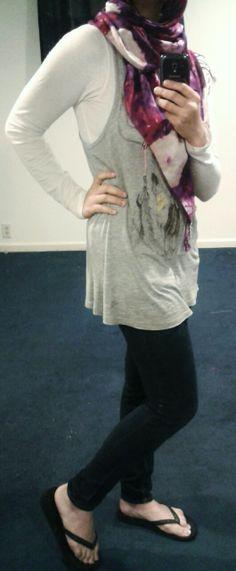 Fashion & Style Fusion blog, #ootd #hootd #outfit #fashion #style #casual #flipflops #gray #scarf #tribal #boho