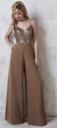 FALL 2016 // Style 22740 | Two-piece sequin sweetheart bodice and chiffon pants with lining. The pants and the top both have zipper closures. #ChristinaWuCelebration #Bridesmaids #ChristinaWu #FallWedding