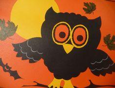 Vtg Hallmark Halloween Paper Diecut Spooky Owls Moonlight