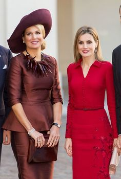 (L) Dutch Queen Maxima and Spanish Queen Letizia at The Noordeinde Palace on 15.10.2014 in The Hague, Netherlands.