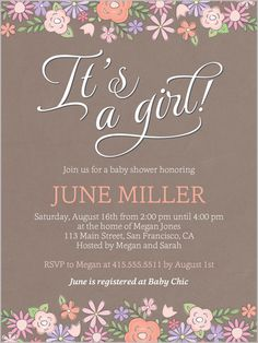 Darling Blooms Girl 4x5 Invitation | Baby Shower Invitations | Shutterfly