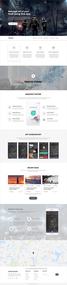 Zapp is clean and modern design PSD template for creative app #landingpage website with 18 layered PSD pages to live preview & download click on Visit #psdmockups