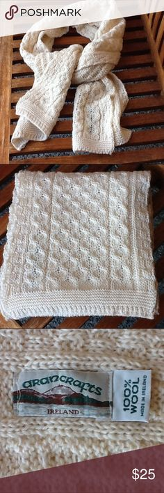 """Arancrafts 100% wool Irish scarf Stay warm and cozy this winter with this 100% wool made in Ireland scarf! Hand wash in cool water. About 68"""" long, and 10"""" wide. Pre-loved condition with no visible rips, stains, or tears. Arancrafts Accessories Scarves & Wraps"""