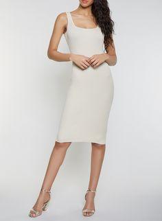 93ee972553 Sleeveless Rib Knit Midi Dress - Beige - Size S