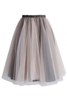 Amore Mesh Tulle Skirt in Taupe - CHICWISH SKIRT COLLECTION - Skirt - Bottoms - Retro, Indie and Unique Fashion