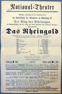 Das Rheingold - National Theater Munich 1925 Playbill, Hans Knappertsbusch