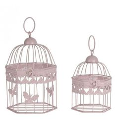 S_2 METAL CAGE-LANTERN  IN PINK COLOR 16X16X28