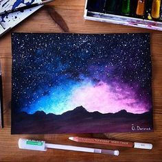 Cool Galaxy Paintings - Cool Mountain Galaxy Art Galaxy Art Art Painting Artwork 40 Super Cool Milky Way Paintings For Outerspace Lovers Galaxy Easy Acrylic Painting Of A Gal. Draw Galaxy, Galaxy Drawings, Galaxy Art, Cool Drawings, How To Paint Galaxy, Pencil Drawings, Arte Inspo, Pastel Art, Oil Pastel Paintings