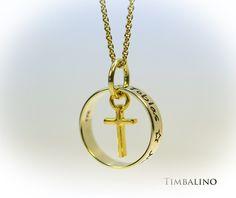 Goldanhänger - Namenskette * Familienring* Goldring, Kreuz - ein Designerstück von Timbalino-Bijoux bei DaWanda