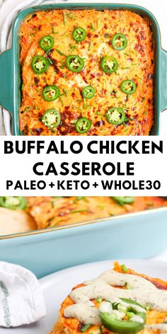 A comforting casserole dish that delivers that classic buffalo chicken flavor! A comforting casserole dish that delivers that classic buffalo chicken flavor! Paleo Whole 30, Whole 30 Recipes, Paleo Recipes, Real Food Recipes, Paleo Food, Paleo Casserole Recipes, Food Tips, Paleo Chicken Recipes, Raw Food