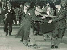 Students carrying a casket for the Be-Bop funeral at the 1949 University of Minnesota Homecoming.