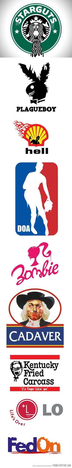 different company logo was change by some design , they turn them to be more terrible and different meanings .And the logo also are the zombies .