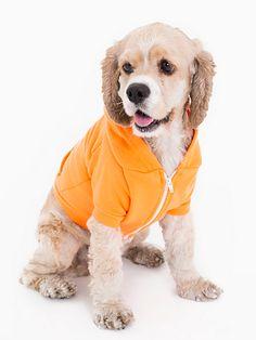 Neon Orange Flex Fleece Dog Zip Hoodie