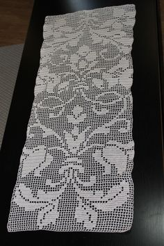 Filet Crochet runner for Jenn's coffee table