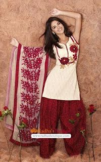 Off white and maroon salwar kameez