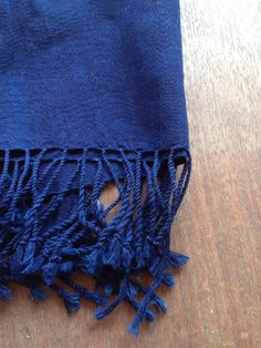 Indigo blue organic hand spun handwoven cotton shawl / scarf