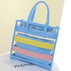 LALA IKAI New Summer Rainbow Striped Fashion Transparent Jelly Handbag Tote 5 Colors