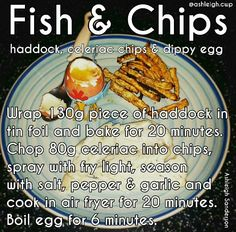 Fish and chips Cambridge Diet Plan, Egg Wrap, Celeriac, Fish And Chips, Diet Recipes, Fries, Healthy Eating, Stuffed Peppers