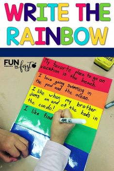 """This has been the perfect organizational tool for writing in my classroom. The students are taught that they need to """"write the rainbow"""" in order to organize their writing. Red is the topic, orange, yellow, and green are the details, and blue is the closing. These graphic organizers and writing practice are wonderful tools for any primary classroom. This packet includes ideas, organizers, writing practice, and prompts to increase your students writing organizational skills."""