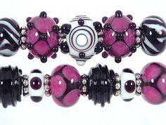 Raspberry Pink Black WhiteLampwork Bead Set 11 by SharplineDesigns, $34.00