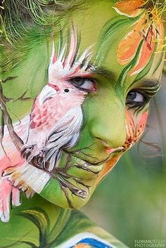 White Parrot Face #Painting Girl #Body Art