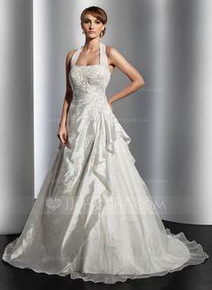 Wedding Dresses - $186.99 - A-Line/Princess Halter Court Train Taffeta Organza Wedding Dress With Ruffle Lace Beading (002014817) http://jjshouse.com/A-Line-Princess-Halter-Court-Train-Taffeta-Organza-Wedding-Dress-With-Ruffle-Lace-Beading-002014817-g14817?ver=n1ug2t&ves=vnlx6