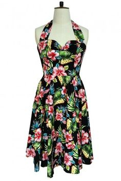Hell Bunny Retro 50s Maui Hibiscus Dress