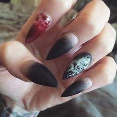 Witch Nails, stiletto nail art design idea for Halloween. Are you looking for easy Halloween nail art designs for October for Halloween party? See our collection full of easy Halloween nail art designs ideas and get inspired!