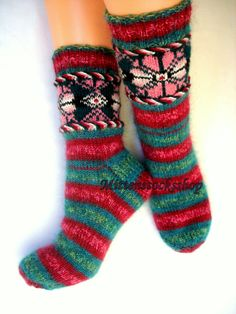 Red Green Hand Knitted Socks Warm Socks from Sock Yarn with Kid Mohair Winter Socks with Pattern Women's Socks Colorful Sleeping Socks Gift Wool Socks, Knit Mittens, Knitting Socks, Hand Knitting, Women's Socks, Knitting Patterns, Knitted Booties, Knitted Gloves, Baby Booties
